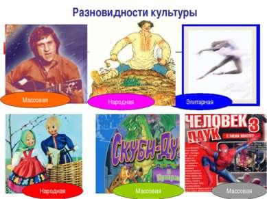 Разновидности культуры Массовая Народная Массовая Массовая Элитарная Народная