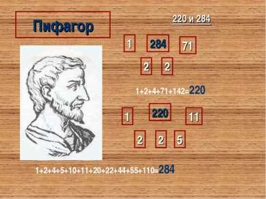 Пифагор 220 и 284 220 1 2 2 5 11 1+2+4+5+10+11+20+22+44+55+110=284 284 1 2 2 ...