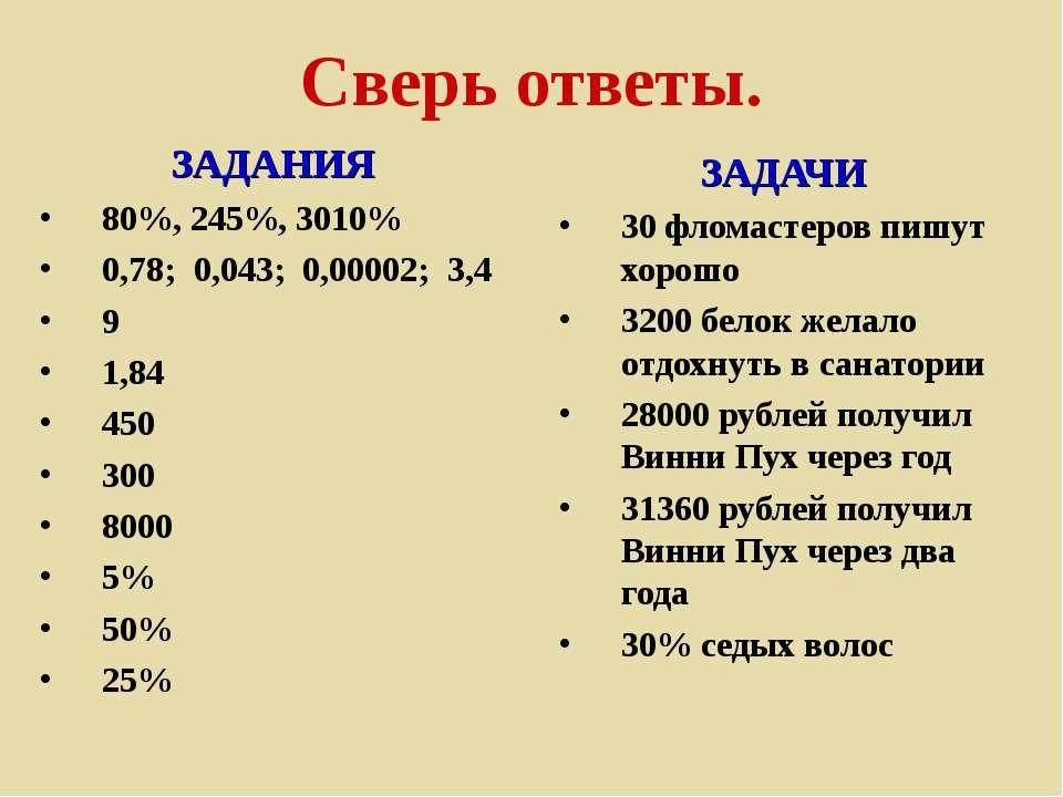 Сверь ответы. ЗАДАНИЯ 80%, 245%, 3010% 0,78; 0,043; 0,00002; 3,4 9 1,84 450 3...