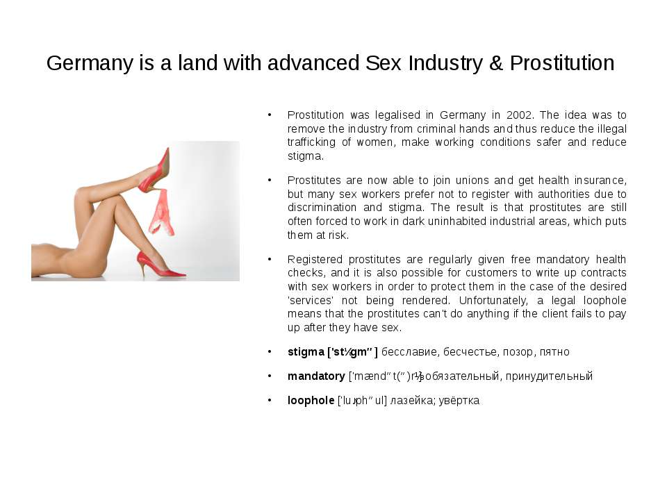 Germany is a land with advanced Sex Industry & Prostitution Prostitution was ...