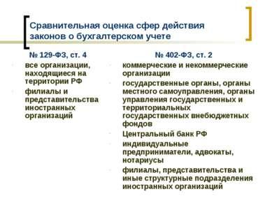 Сравнительная оценка сфер действия законов о бухгалтерском учете № 129-ФЗ, ст...