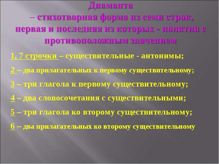 1, 7 строчки – существительные - антонимы; 2 – два прилагательных к первому с...