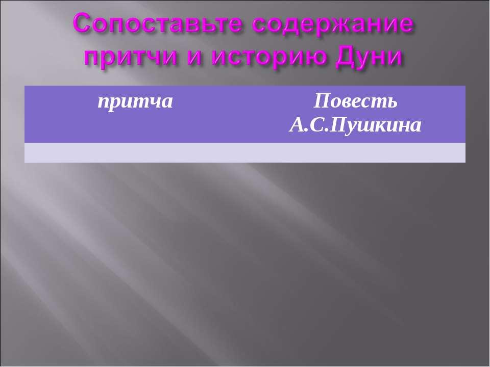 притча Повесть А.С.Пушкина