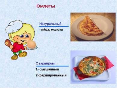 Омлеты Натуральный - яйца, молоко С гарниром: 1- смешанный 2-фаршированный