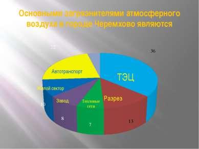 Основными загрязнителями атмосферного воздуха в городе Черемхово являются