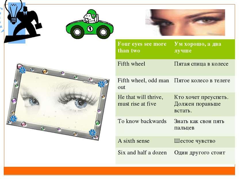 Four eyes see more than two Ум хорошо, а два лучше Fifth wheel Пятая спица в ...