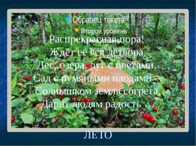 Распрекрасная пора! Ждёт её вся детвора. Лес, озёра, луг с цветами, Сад с рум...