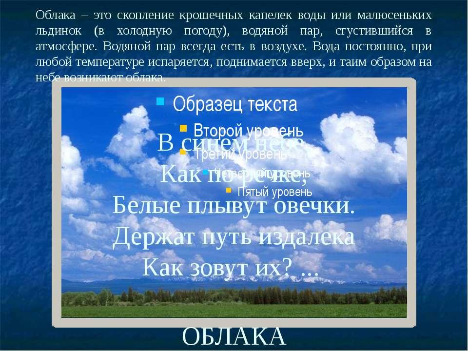 В синем небе, Как по речке, Белые плывут овечки. Держат путь издалека Как зов...