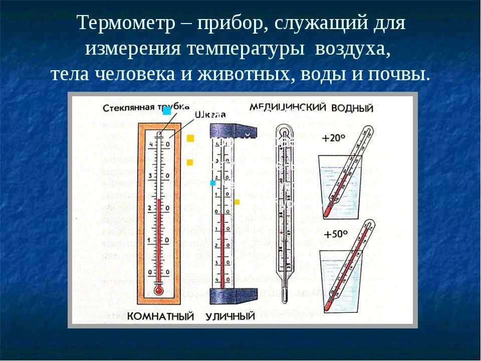 Термометр – прибор, служащий для измерения температуры воздуха, тела человека...
