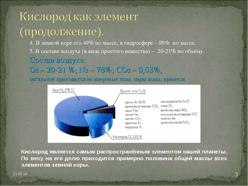 4. В земной коре его 49% по массе, в гидросфере – 89% по массе. 5. В составе ...