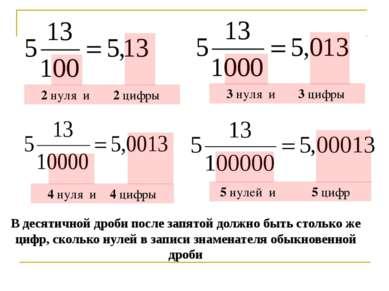 В десятичной дроби после запятой должно быть столько же цифр, сколько нулей в...