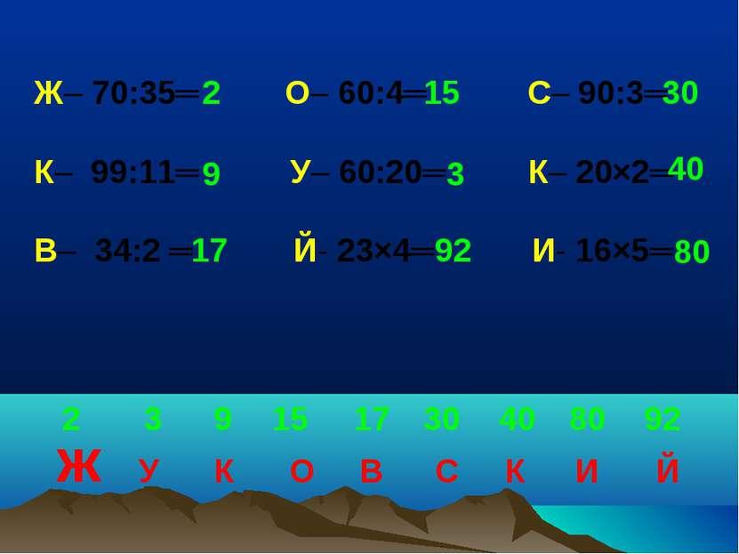 Ж– 70:35═ О– 60:4═ С– 90:3═ К– 99:11═ У– 60:20═ К– 20×2═ В– 34:2 ═ Й- 23×4═ И...