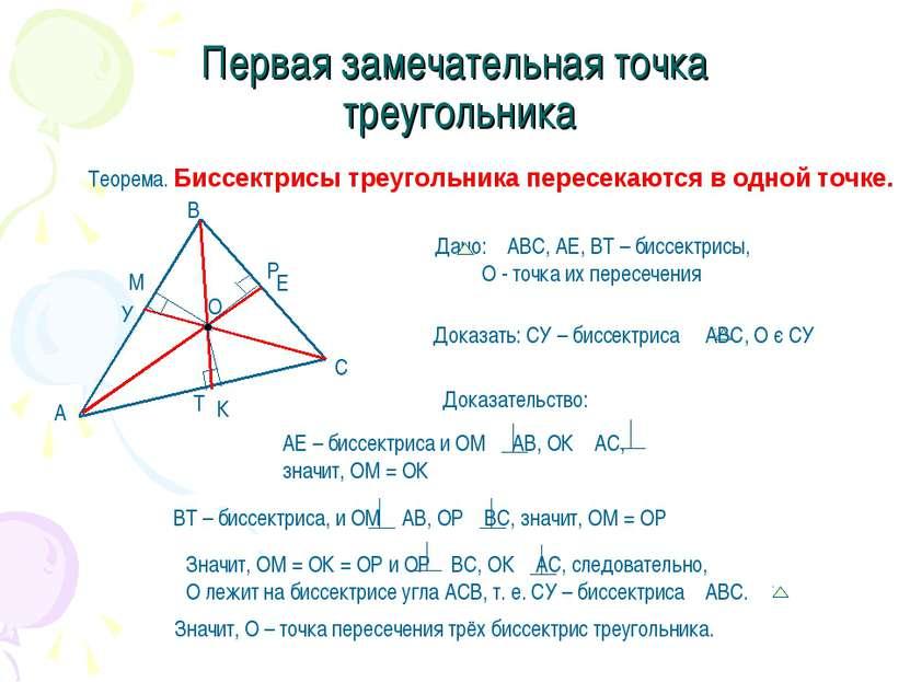 Первая замечательная точка треугольника Теорема. Биссектрисы треугольника пер...