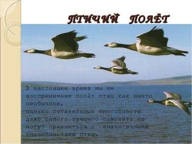 ПТИЧИЙ ПОЛЁТ В настоящее время мы не воспринимаем полёт птиц как нечто необыч...