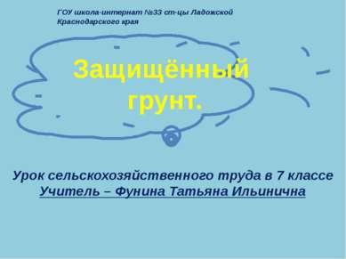 Защищённый грунт. ГОУ школа-интернат №33 ст-цы Ладожской Краснодарского края ...