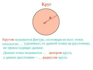 Круг Кругом называется фигура, состоящая из всех точек плоскости … удаленных ...