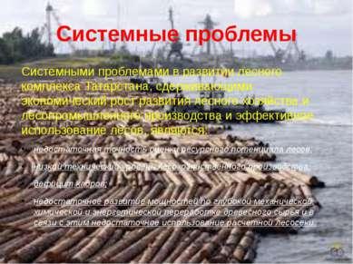 Системные проблемы Системными проблемами в развитии лесного комплекса Татарст...