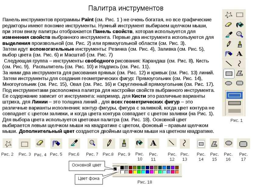 Панель инструментов программы Paint (см. Рис. 1 ) не очень богатая, но все гр...