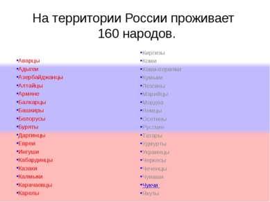 На территории России проживает 160 народов. Аварцы Адыгеи Азербайджанцы Алтай...