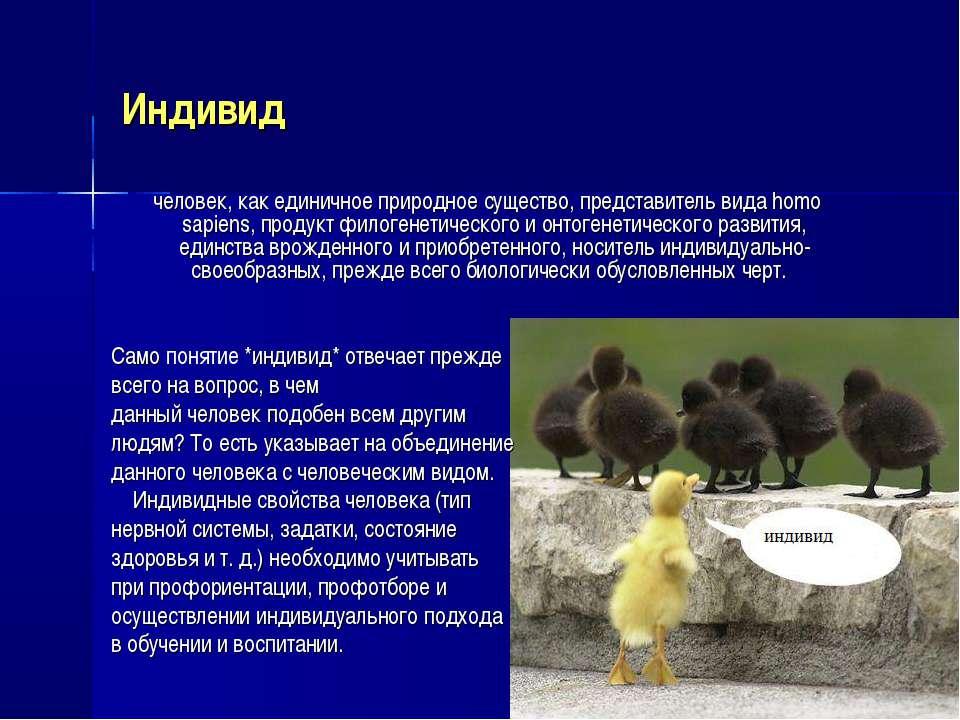 Индивид человек, как единичное природное существо, представитель вида homo sa...