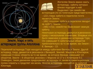 - 1221 Амур; орбита в перигелии почти касается Земли; - 1862 Аполлон; орбита ...