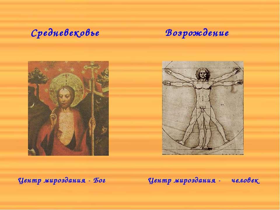 Средневековье Центр мироздания - Бог Возрождение Центр мироздания - человек