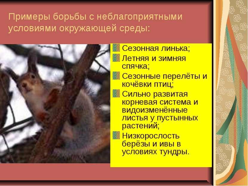 Примеры борьбы с неблагоприятными условиями окружающей среды: Сезонная линька...