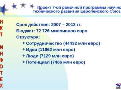 * Срок действия: 2007 – 2013 гг. Бюджет: 72 726 миллионов евро Структура: Сот...