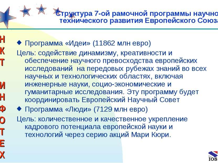 * Программа «Идеи» (11862 млн евро) Цель: содействие динамизму, креативности ...