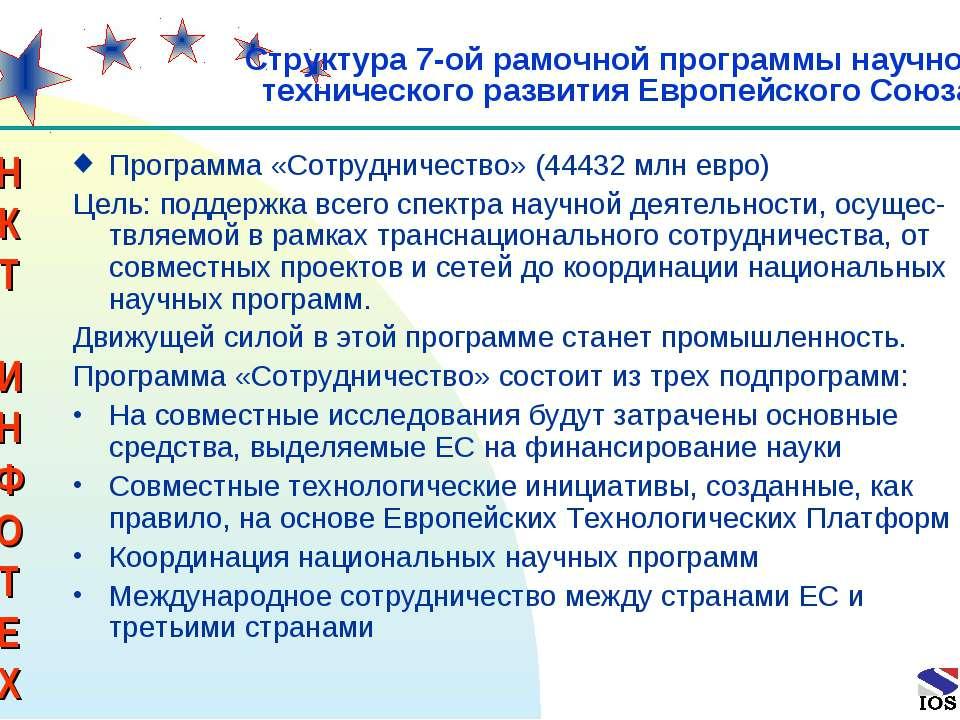* Программа «Сотрудничество» (44432 млн евро) Цель: поддержка всего спектра н...