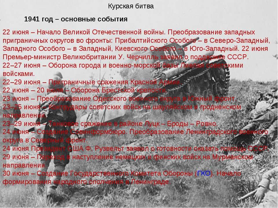 Курская битва Курская битва 1941 год – основные события 22 июня – Начало Вели...