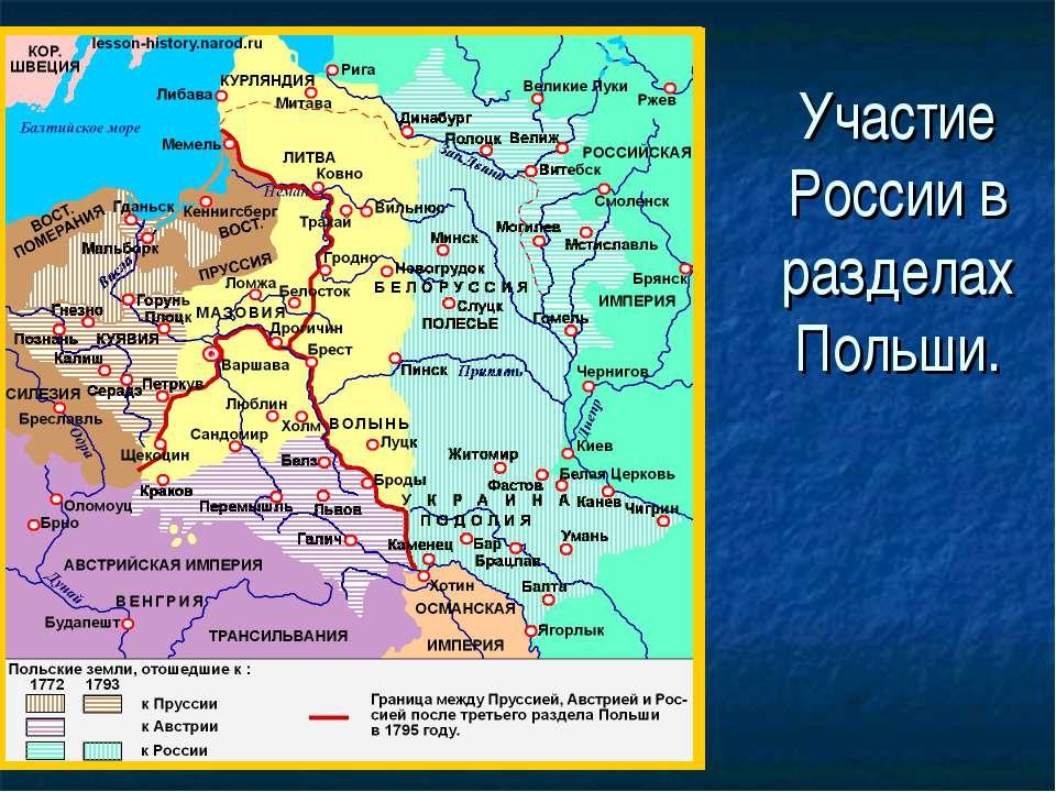 Участие России в разделах Польши.