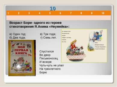 10 Возраст Бори- одного из героев стихотворения Я.Акима «Неумейка»: а) Один г...