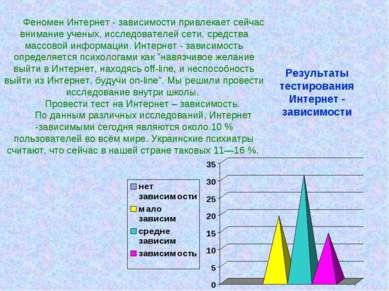 Результаты тестирования Интернет - зависимости Феномен Интернет - зависимости...
