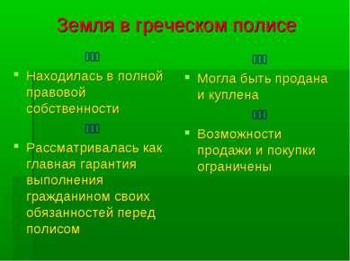 Земля в греческом полисе ۩۩۩ Находилась в полной правовой собственности ۩۩۩ Р...