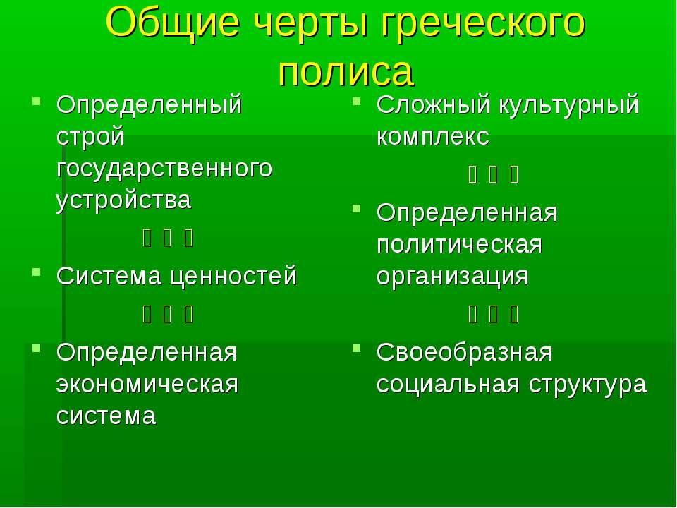 Общие черты греческого полиса Определенный строй государственного устройства ...