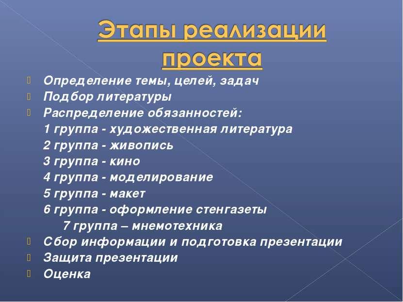 Определение темы, целей, задач Подбор литературы Распределение обязанностей: ...