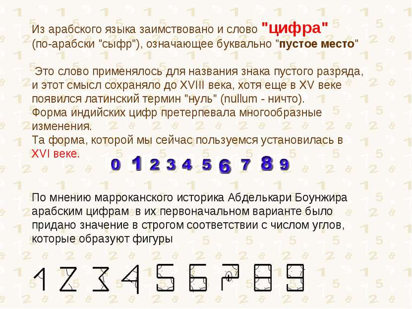 "Из арабского языка заимствовано и слово ""цифра"" (по-арабски ""сыфр""), означающ..."