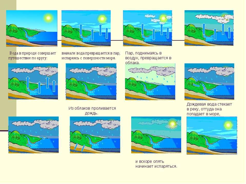 вначале вода превращается в пар, испаряясь с поверхности моря. Вода в природе...