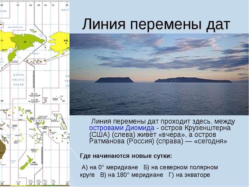 Линия перемены дат Линия перемены дат проходит здесь, между островами Диомида...