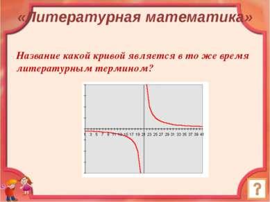 Название какой кривой является в то же время литературным термином? Ответ: Ги...