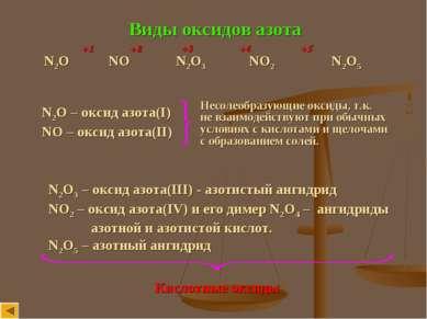 Виды оксидов азота N2O NO N2O3 NO2 N2O5 +1 +2 +3 +4 +5 N2O – оксид азота(I) N...
