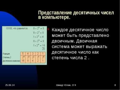 * Шмидт Юлии, 1Г4 * Представление десятичных чисел в компьютере. Каждое десят...