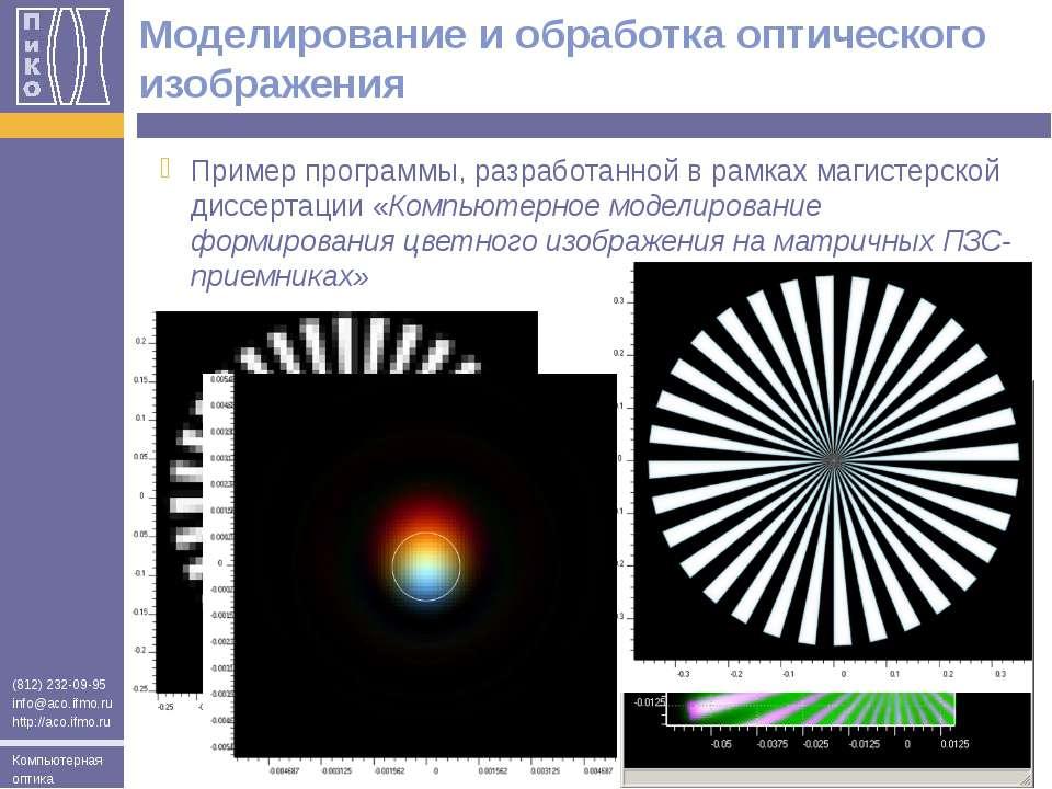 Моделирование и обработка оптического изображения Пример программы, разработа...