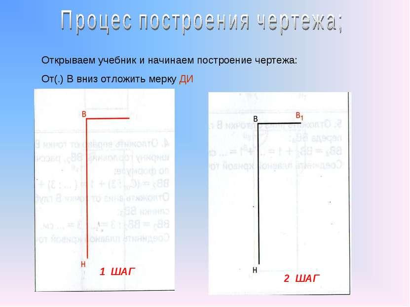 1 ШАГ 2 ШАГ Открываем учебник и начинаем построение чертежа: От(.) В вниз отл...