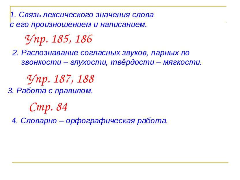 Связь лексического значения слова с его произношением и написанием. Упр. 185,...