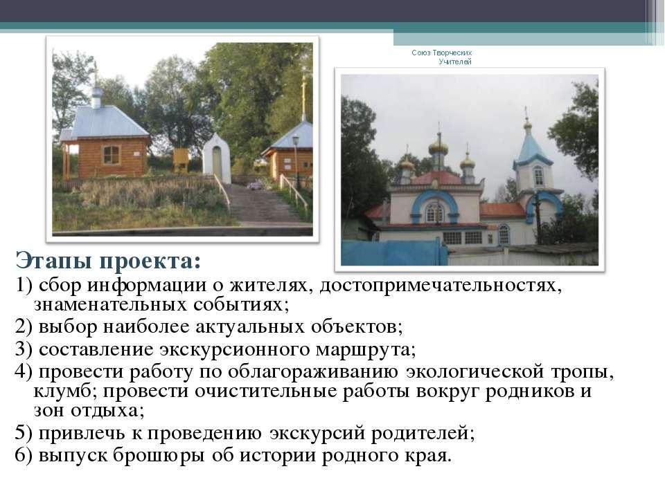 Этапы проекта: 1) сбор информации о жителях, достопримечательностях, знаменат...