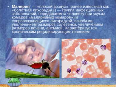 Малярия — «плохой воздух», ранее известная как «болотная лихорадка»)— групп...