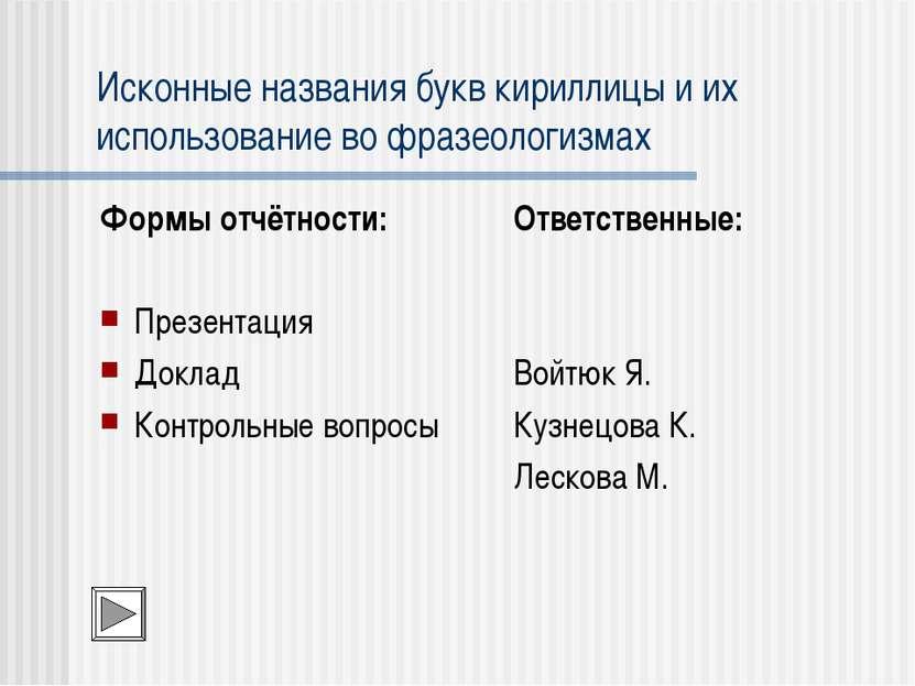 Исконные названия букв кириллицы и их использование во фразеологизмах Формы о...
