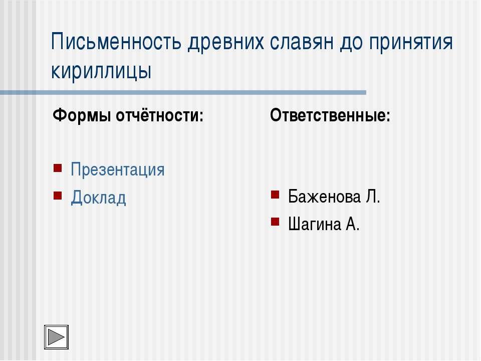 Письменность древних славян до принятия кириллицы Формы отчётности: Презентац...